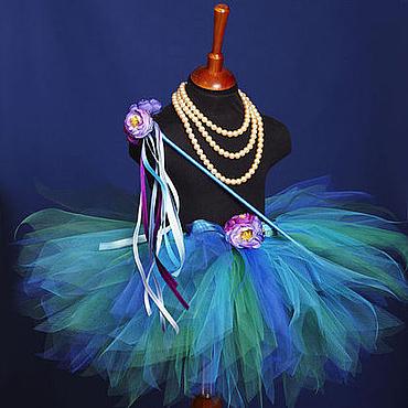 Работы для детей, ручной работы. Ярмарка Мастеров - ручная работа Бирюзовый комплект пышная юбка-пачка и волшебная палочка. Handmade.