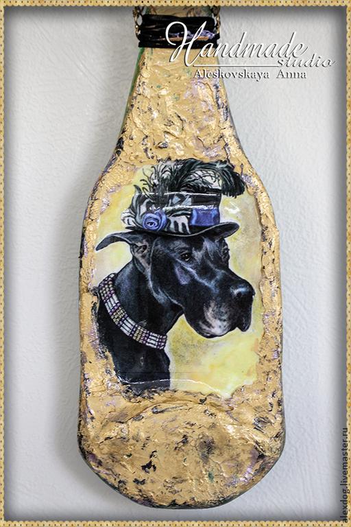 """Животные ручной работы. Ярмарка Мастеров - ручная работа. Купить Декоративная бутылка - """"Леди- ДОГ"""". Handmade. Черный, собаки, приз"""