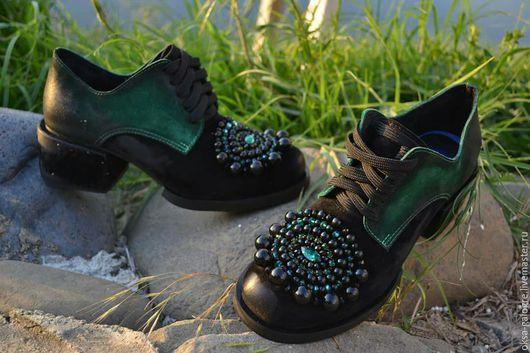 Обувь ручной работы. Ярмарка Мастеров - ручная работа. Купить Туфли ручной работы.. Handmade. Тёмно-зелёный, туфли кожаные