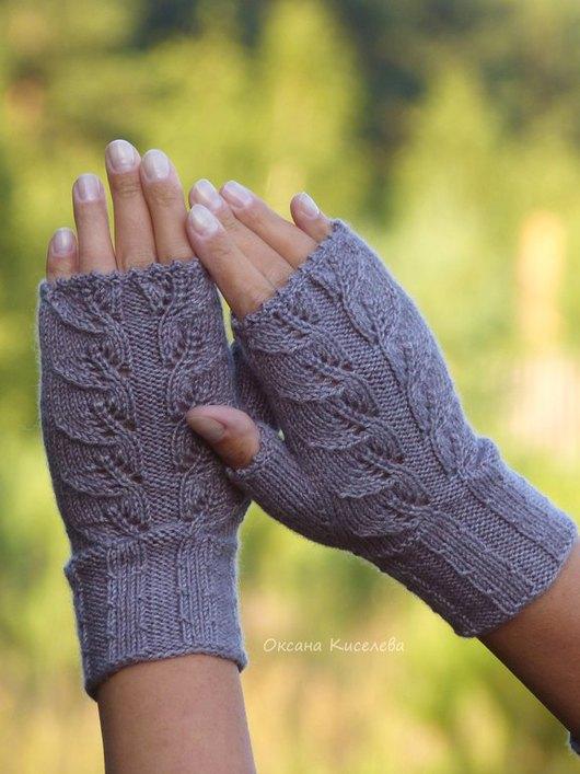 Варежки, митенки, перчатки ручной работы. Ярмарка Мастеров - ручная работа. Купить Митенки вязаные пыльно-сиреневые женственные. Handmade.