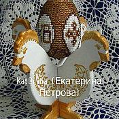 """Подарки к праздникам ручной работы. Ярмарка Мастеров - ручная работа Подставка для декоративных яиц"""" Петушки"""" белый. Handmade."""