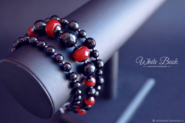 Bracelet wide, black agate, red agate, Bead bracelet, Moscow,  Фото №1