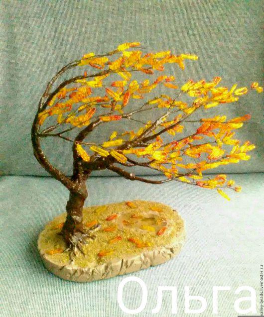 """Деревья ручной работы. Ярмарка Мастеров - ручная работа. Купить Дерево из бисера - """"На ветру"""". Handmade. Комбинированный, оригинальный подарок"""