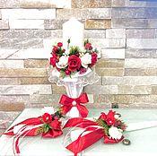 """Свадебный салон ручной работы. Ярмарка Мастеров - ручная работа Свадебные свечи """" красно -белые """"(2). Handmade."""