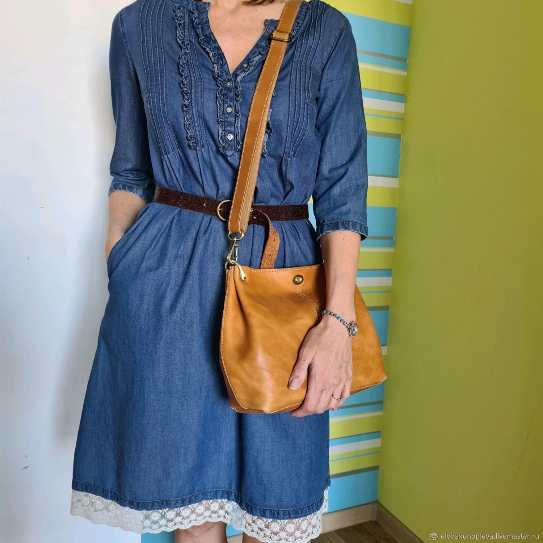 Кожаная сумка на плечо Складочки охра, Классическая сумка, Нижний Тагил,  Фото №1