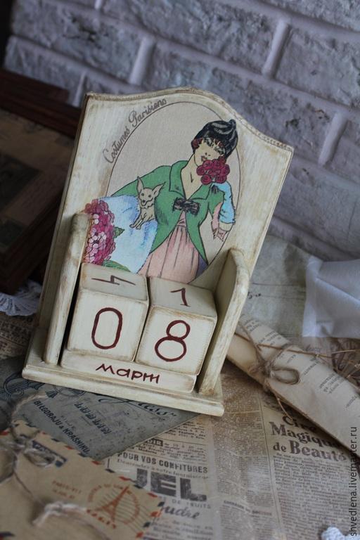 """Календари ручной работы. Ярмарка Мастеров - ручная работа. Купить Вечный календарь """"Дама"""". Handmade. Бежевый, подарок к Новому году"""