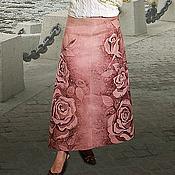 """Одежда ручной работы. Ярмарка Мастеров - ручная работа Юбка льняная """"Парижские розы"""" батик. Handmade."""