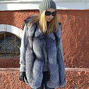 Одежда handmade. Livemaster - original item Vest fur black brown(silver) foxes.. Handmade.