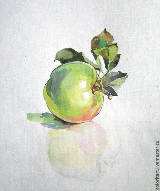 Натюрморт ручной работы. Ярмарка Мастеров - ручная работа. Купить Яблочко акварель. Handmade. Зеленый, яблоко, акварель, акварельная картина
