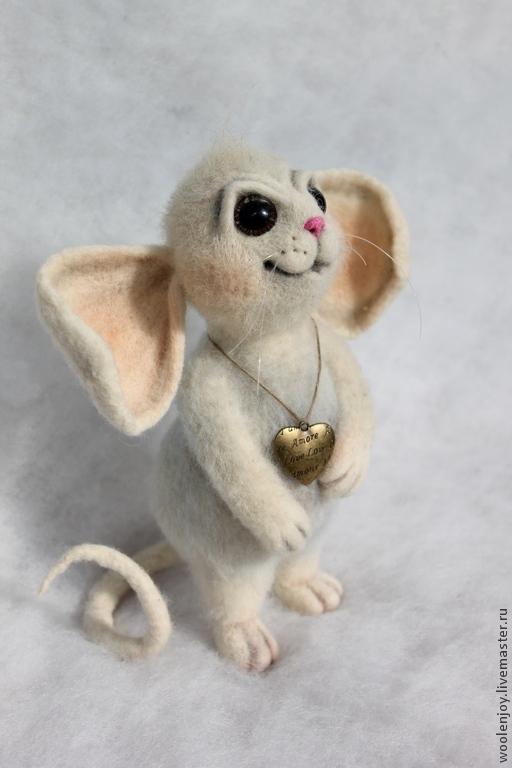 Игрушки животные, ручной работы. Ярмарка Мастеров - ручная работа. Купить Мышь. Handmade. Белый, валяная мышь