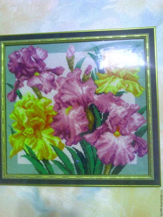 Картины цветов ручной работы. Ярмарка Мастеров - ручная работа. Купить Ирисы. Handmade. Комбинированный, в рамке, багетная рама
