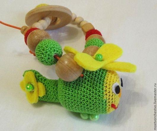 """Развивающие игрушки ручной работы. Ярмарка Мастеров - ручная работа. Купить Развивающая игрушка погремушка можжевеловая """"Вертолётик"""". Handmade."""