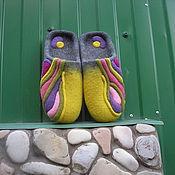 """Обувь ручной работы. Ярмарка Мастеров - ручная работа Валяные тапочки """"Цветные сны"""". Handmade."""