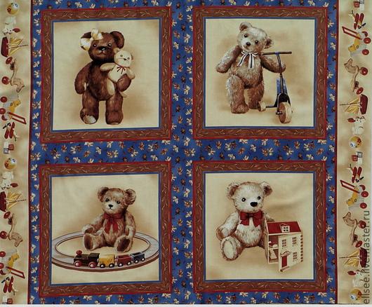 """Шитье ручной работы. Ярмарка Мастеров - ручная работа. Купить Панель-ткань """"Винтаж. Мишки"""". Handmade. Ткани, ткани для детей"""