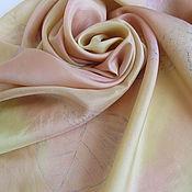 Аксессуары ручной работы. Ярмарка Мастеров - ручная работа Платок шелковый батик Ванильно-розовый. Handmade.