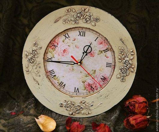 Часы для дома ручной работы. Ярмарка Мастеров - ручная работа. Купить Часы настенные в стиле шебби.. Handmade. Часы, розы