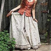 Одежда handmade. Livemaster - original item Linen boho skirt with lace