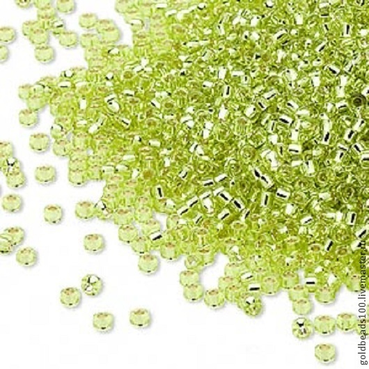 Для украшений ручной работы. Ярмарка Мастеров - ручная работа. Купить MIYUKI КРУГЛЫЙ 15/0  цвет 14  silver-lined transparent yellow green10. Handmade.