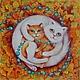 """Животные ручной работы. Ярмарка Мастеров - ручная работа. Купить """"На ковре из желтых листьев..."""". Handmade. Разноцветный, кошка"""