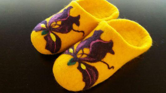 """Обувь ручной работы. Ярмарка Мастеров - ручная работа. Купить Валяные тапочки""""Ирисы"""". Handmade. Оранжевый, натуральная кожа"""