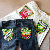 Одежда handmade. Livemaster - original item Painting on fabric. Jeans painted