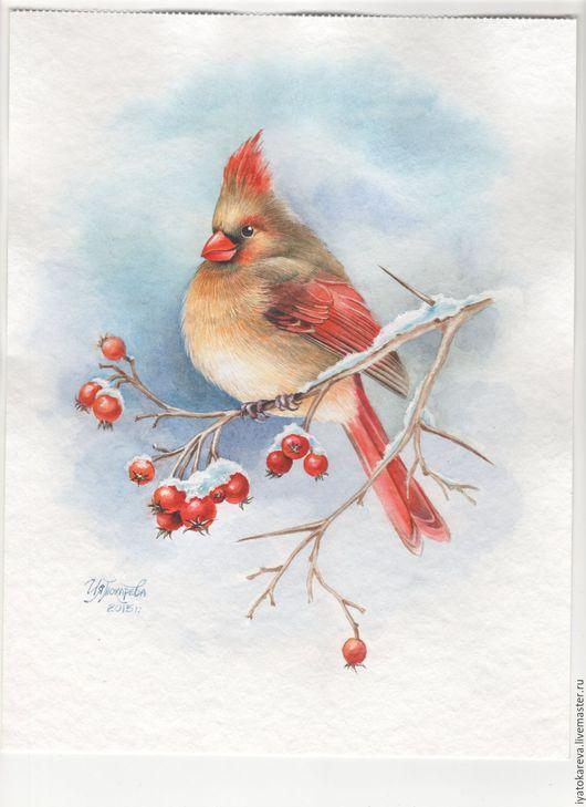 `Зимнее счастье` Картина акварелью. Птицы. Птички. Люблю птичек. С настроением!