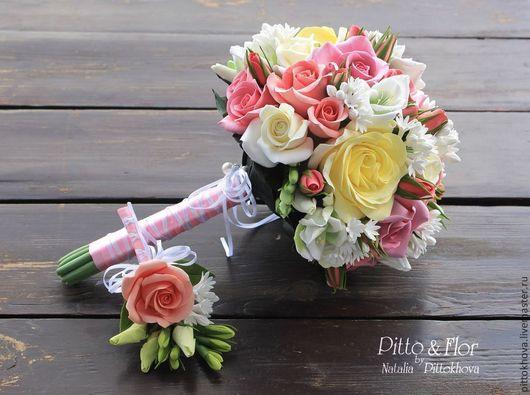 Свадебные цветы ручной работы. Ярмарка Мастеров - ручная работа. Купить Букет невесты из полимерной глины.Розы и фрезии. Handmade.
