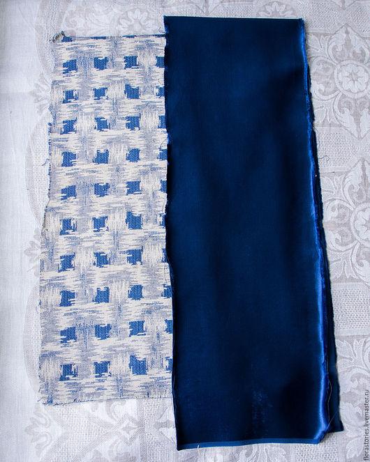 Аппликации, вставки, отделка ручной работы. Ярмарка Мастеров - ручная работа. Купить Два фрагмента старинных тканей. Handmade. Синий
