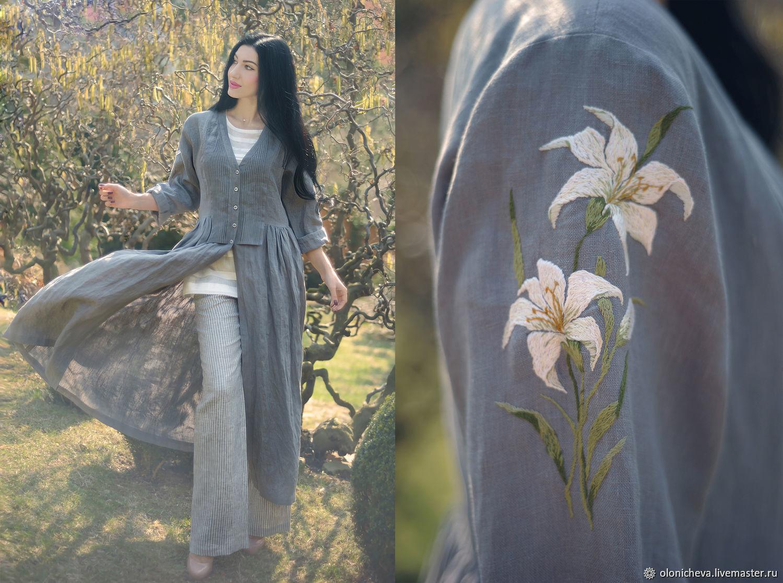 Stylish linen set in boho style 'White Lily', Suits, Vinnitsa,  Фото №1