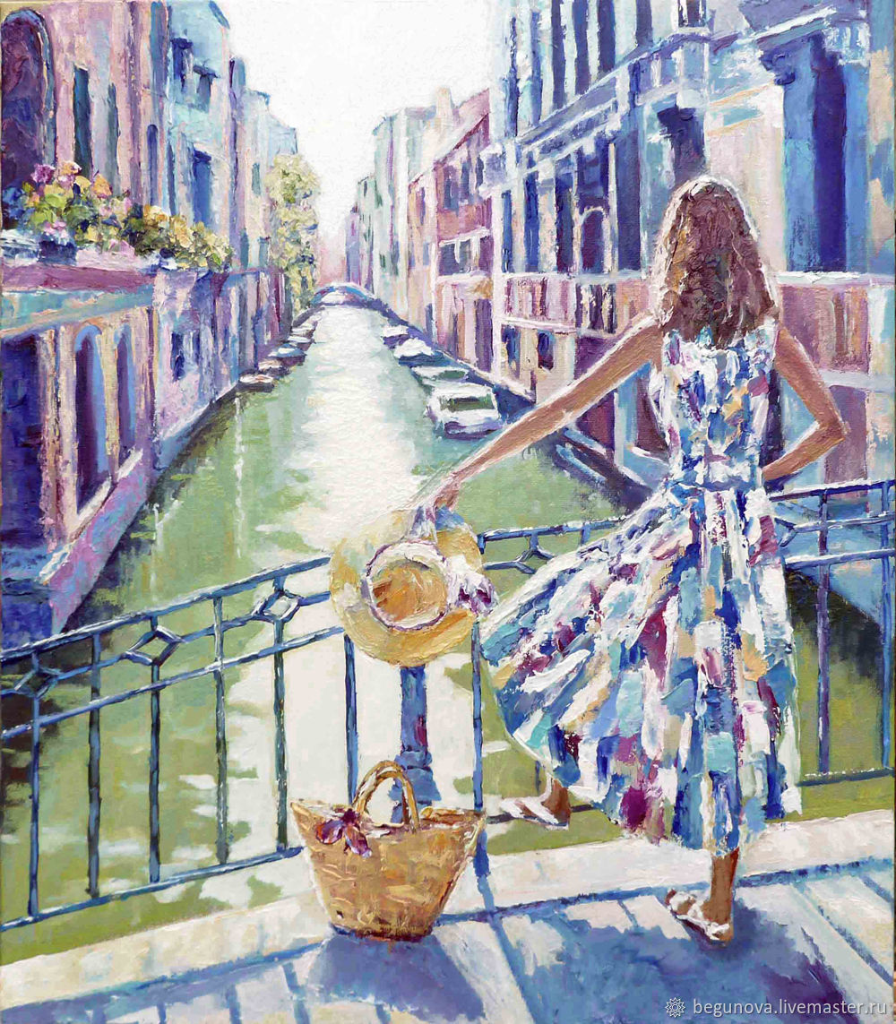 Oil painting Venice city, cityscape, painting with girl, Pictures, Krasnodar,  Фото №1