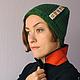 Шапки ручной работы. Ярмарка Мастеров - ручная работа. Купить Вязаная шапка зеленая с плиточками. Handmade. Тёмно-зелёный, узор