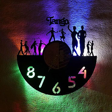 For home and interior handmade. Livemaster - original item Wall clock with led light from the album tango. Handmade.