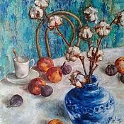 handmade. Livemaster - original item Painting-still Life with peaches and figs