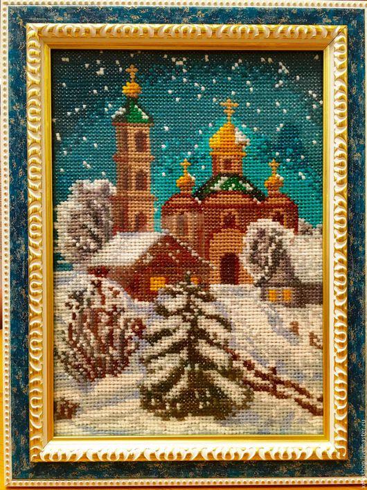 """Пейзаж ручной работы. Ярмарка Мастеров - ручная работа. Купить Картина крестиком """"Зимний вечер"""". Handmade. Комбинированный, зимний вечер"""