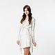 BB_009 Платье с Юлами, короткое, цвет беж, шерстяной жаккардовый трикотаж .