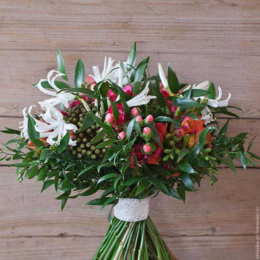 Свадебные цветы ручной работы. Ярмарка Мастеров - ручная работа. Купить Свадебный / Поздравительный букет. Handmade. Комбинированный, розовый