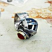 Украшения ручной работы. Ярмарка Мастеров - ручная работа RYUKU. Кольцо из серебра и латуни с сердоликом. Handmade.