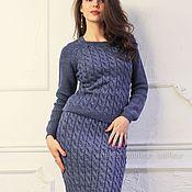 Одежда ручной работы. Ярмарка Мастеров - ручная работа Теплый шерстяной костюм синего цвета. Handmade.