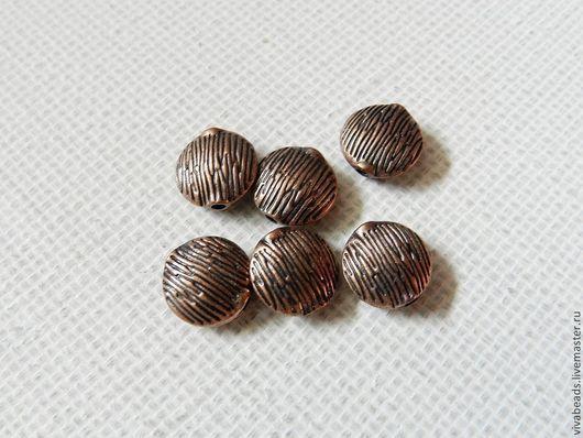 Бусина латунная спейсер (разделитель бусин), размер 10*4,5 мм, отверстие 1 мм, цвет МЕДЬ (арт. 1231)
