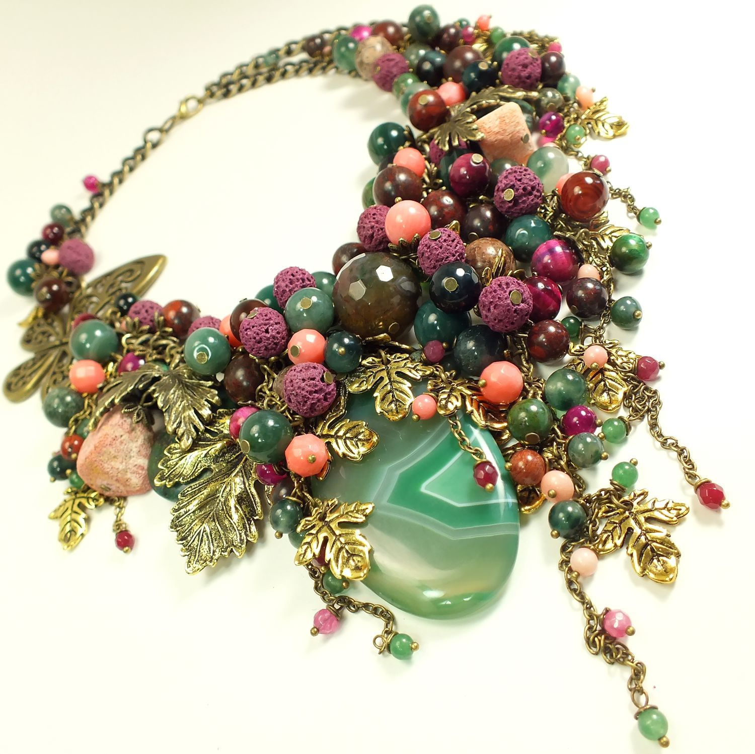 Evening Emerald Bay. necklace made of natural stones, Necklace, St. Petersburg,  Фото №1