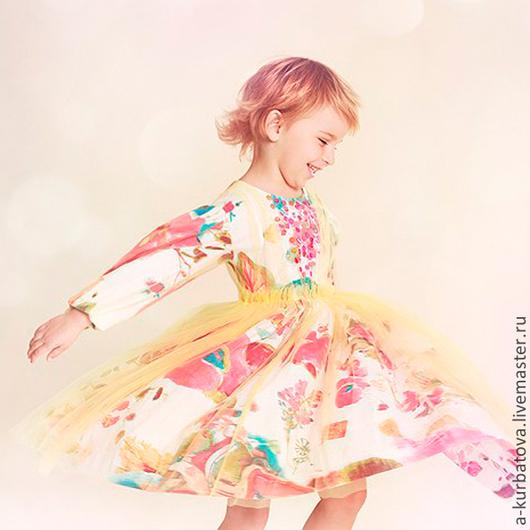 Одежда для девочек, ручной работы. Ярмарка Мастеров - ручная работа. Купить Платье. Handmade. Лимонный, сетка стрейч