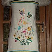 Одежда ручной работы. Ярмарка Мастеров - ручная работа Вязаное пальто кардиган с вышивкой. Handmade.