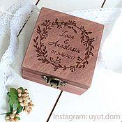 Свадебный салон handmade. Livemaster - original item Wooden box with engraving for wedding rings. Handmade.