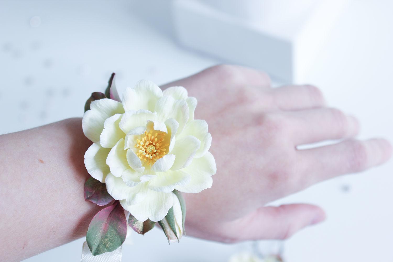 Браслет на руку для подружек с розой айвори, Браслеты, Санкт-Петербург,  Фото №1