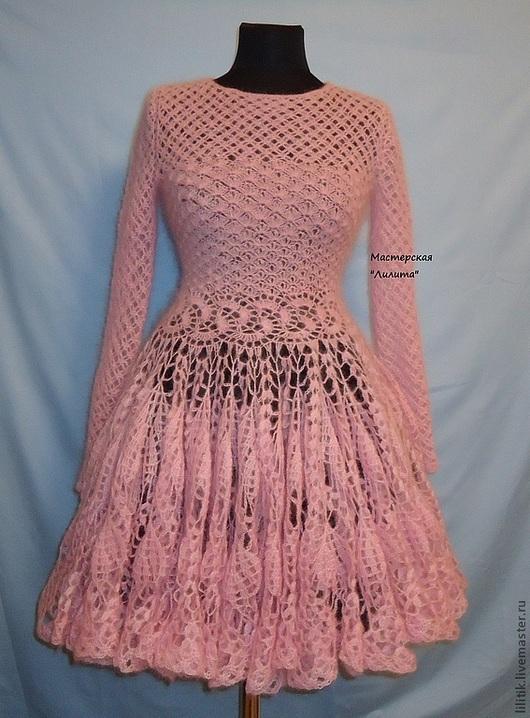 """Платья ручной работы. Ярмарка Мастеров - ручная работа. Купить """"Розовая дымка"""". Handmade. Бледно-розовый, платье из кидмохера"""