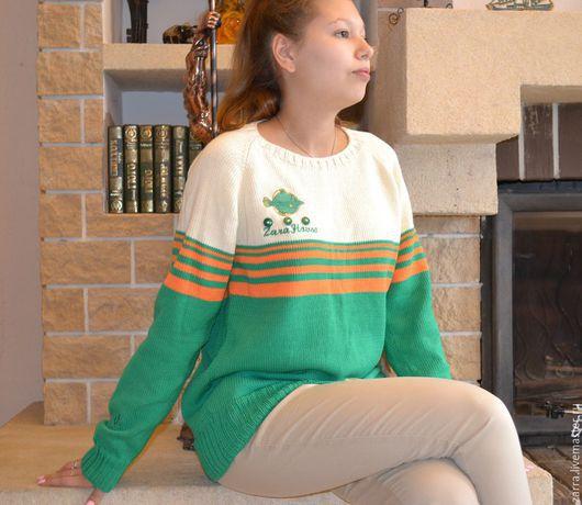 """Кофты и свитера ручной работы. Ярмарка Мастеров - ручная работа. Купить Джемпер """"Green fish"""". Handmade. Джемпер, свитер вязаный"""