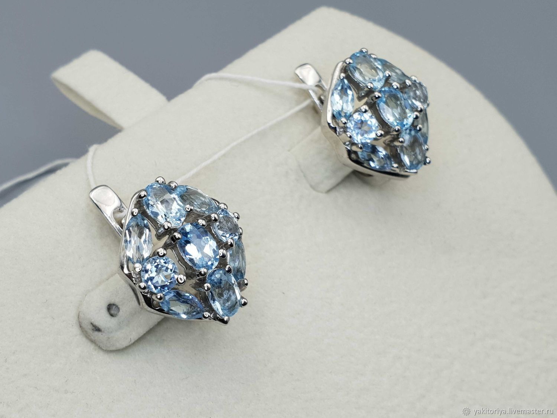 925 sterling silver earrings with topaz, Earrings, Moscow,  Фото №1
