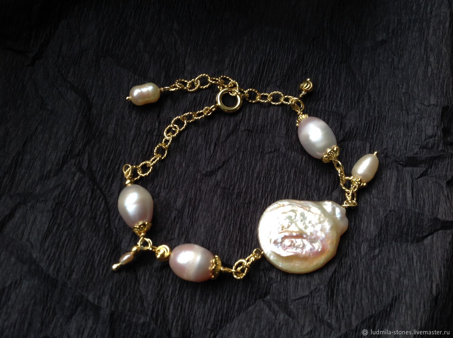 Bracelet made of gilded silver and Baroque pearls, Bead bracelet, Moscow,  Фото №1