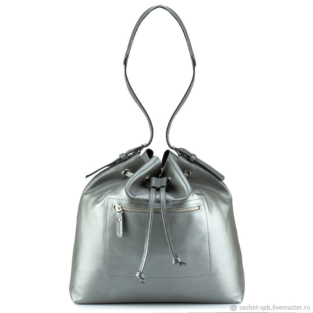 Women's leather bag 'Alsu' (silver), Shopper, St. Petersburg,  Фото №1