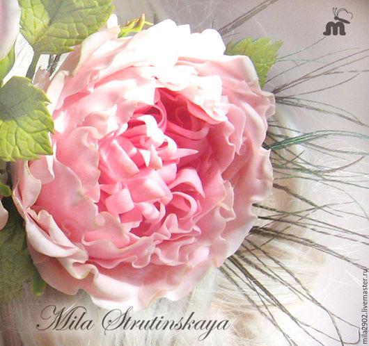 Свадебные украшения ручной работы. Ярмарка Мастеров - ручная работа. Купить Староанглийская роза (пионовидная роза) из холодного фарфора. Handmade.